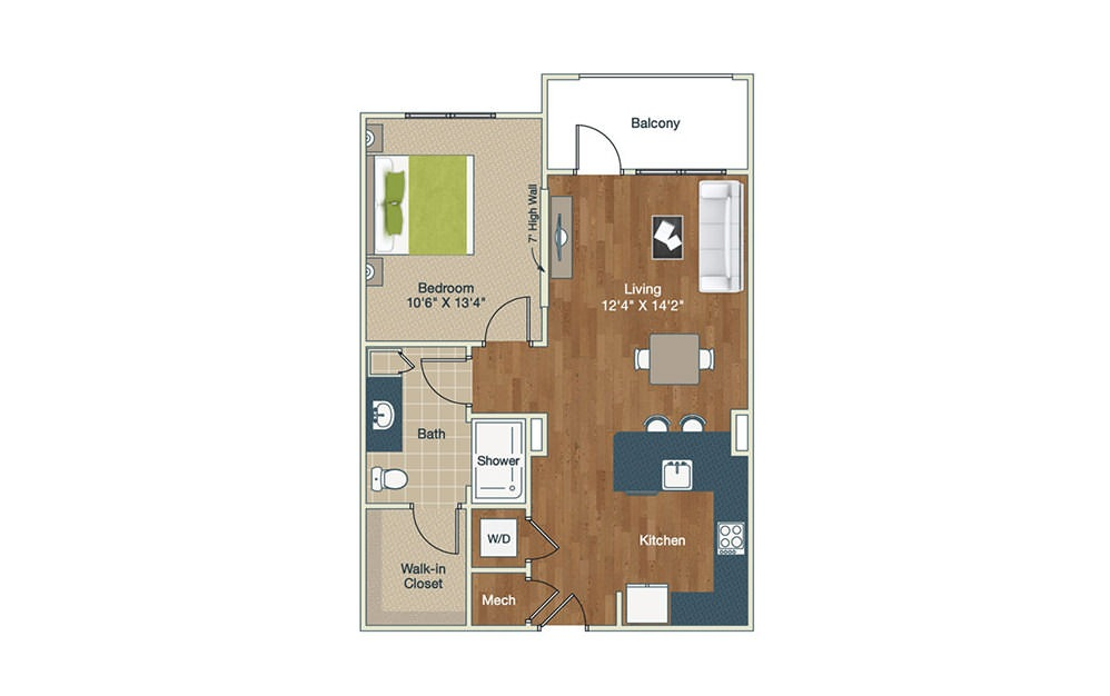 A1-B | 1 Bed, 1 Bath, 755 sq. ft. Apartment at Palladian Place