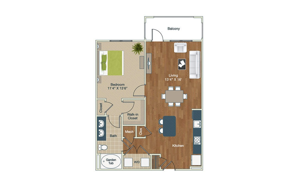 A2-1 | 1 Bed, 1 Bath, 872 sq. ft. Apartment at Palladian Place