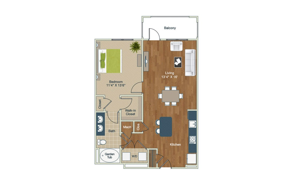 A2-1-B - 1 bedroom floorplan layout with 1 bath and 872 square feet.