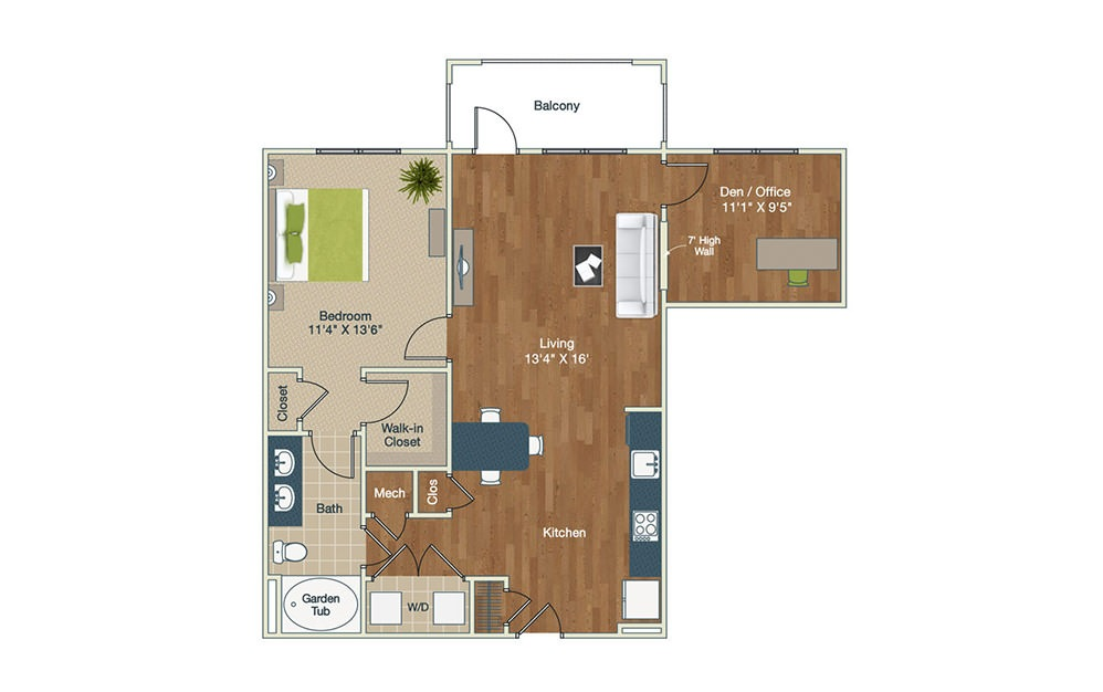 A2-2 - 1 bedroom floorplan layout with 1 bath and 987 square feet.