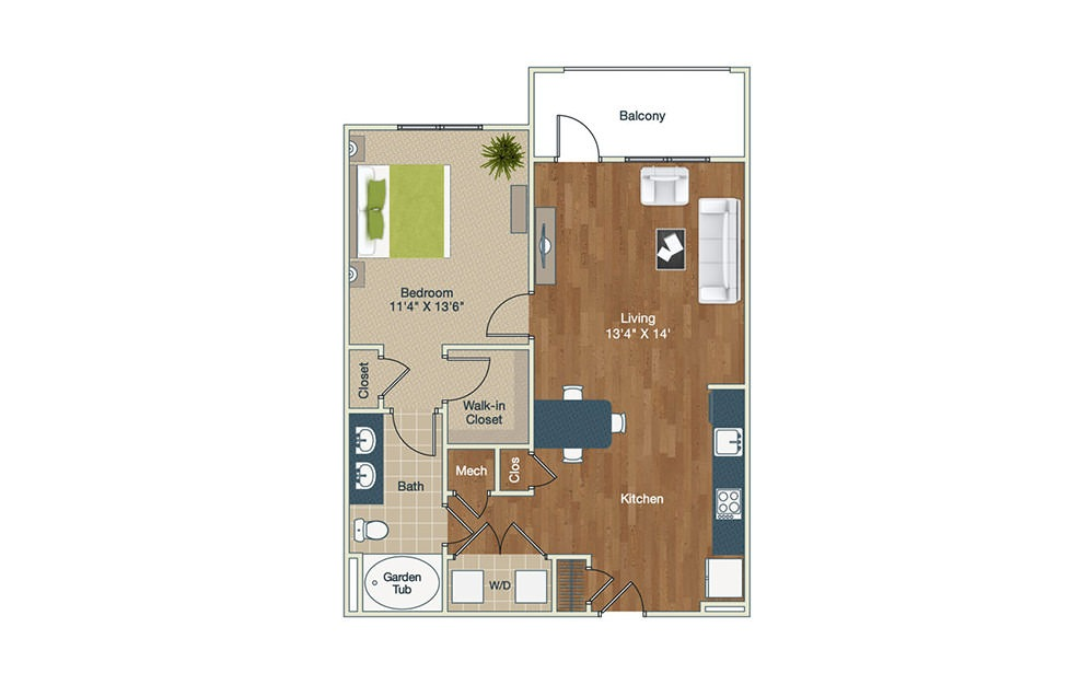 A2 - 1 bedroom floorplan layout with 1 bath and 844 square feet.