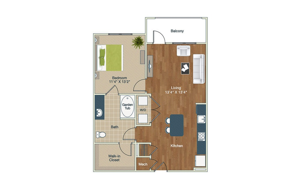 A2-HC | 1 Bed, 1 Bath, 844 sq. ft. Apartment at Palladian Place
