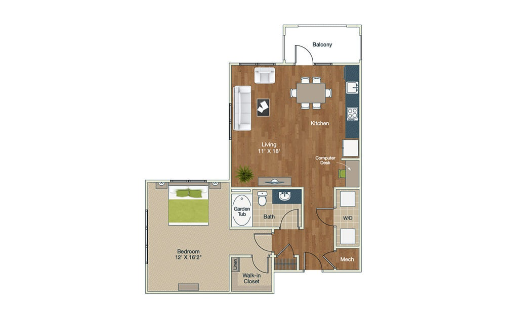 A4 | 1 Bed, 1 Bath, 898 sq. ft. Apartment at Palladian Place