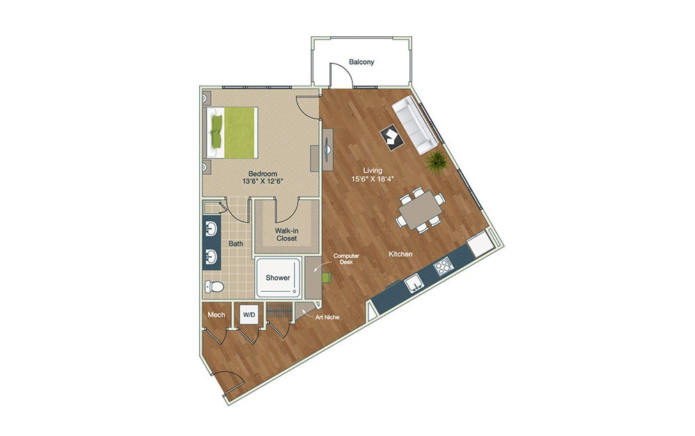A5-B - 1 bedroom floorplan layout with 1 bath and 957 square feet.
