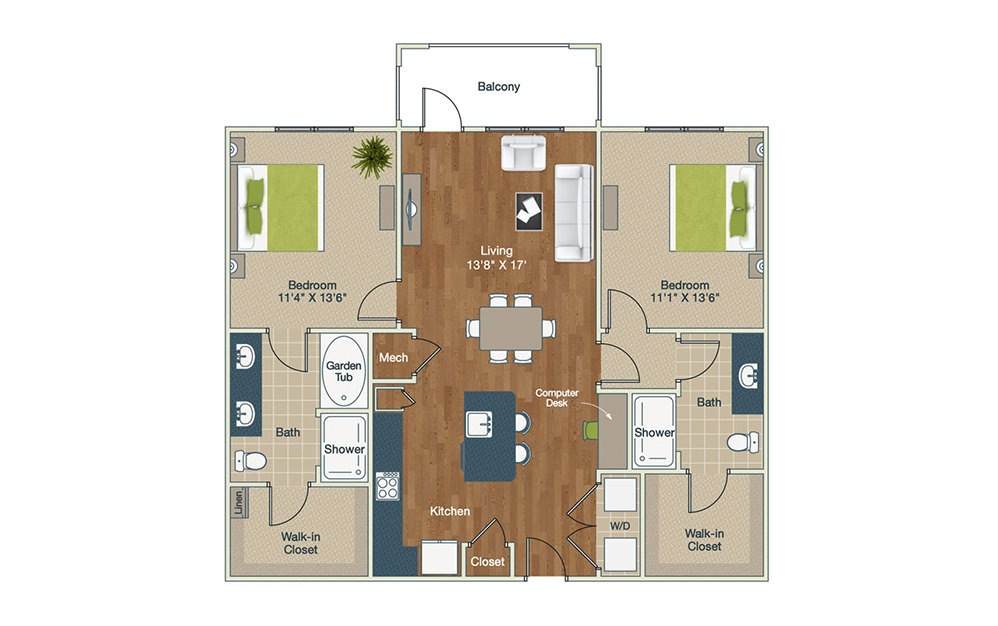 B1-D - 2 bedroom floorplan layout with 2 baths and 1226 square feet.