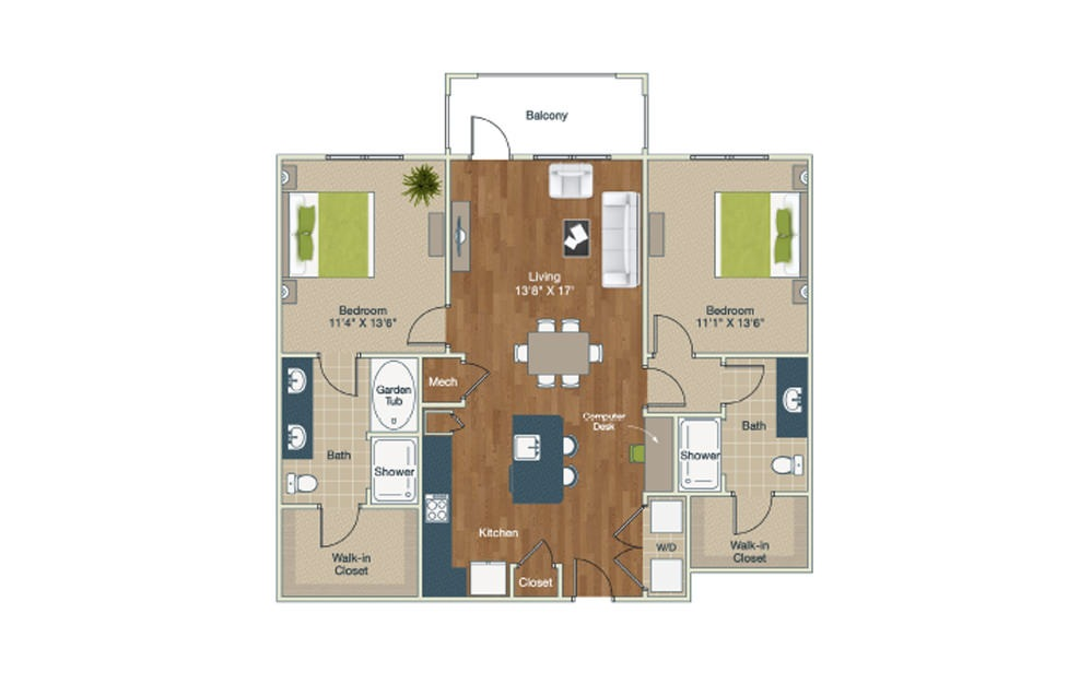 B1-C - 2 bedroom floorplan layout with 2 baths and 1226 square feet.