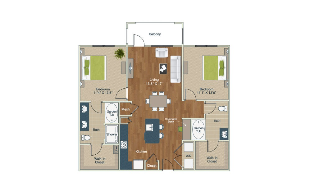B1-HC | 2 Bed, 2 Bath, 1226 sq. ft. Apartment at Palladian Place