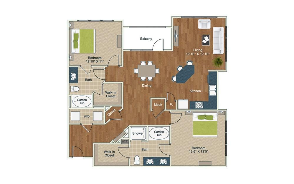 B2-B | 2 Bed, 2 Bath, 1370 sq. ft. Apartment at Palladian Place