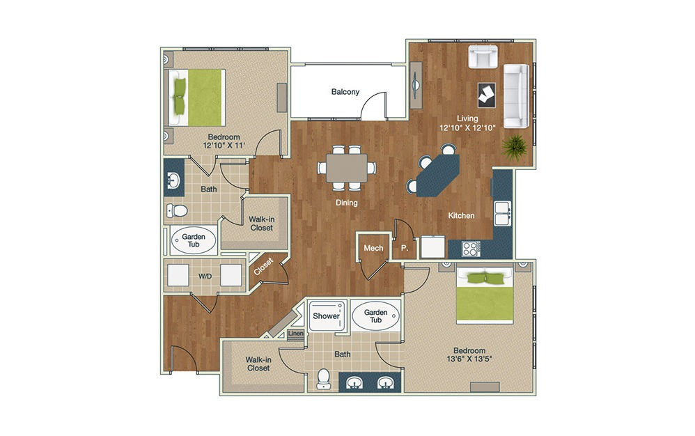 B2 - 2 bedroom floorplan layout with 2 baths and 1370 square feet.