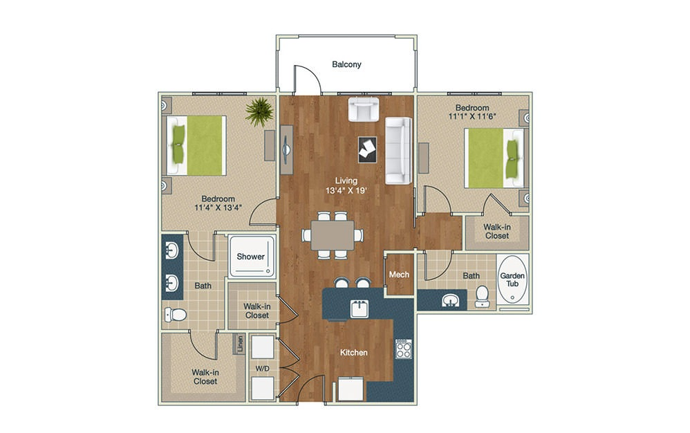 B3 - 2 bedroom floorplan layout with 2 baths and 1123 square feet.