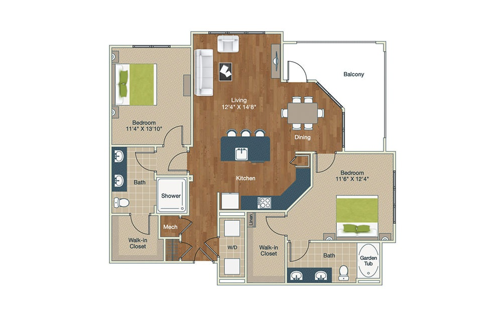 B4 - 2 bedroom floorplan layout with 2 baths and 1344 square feet.