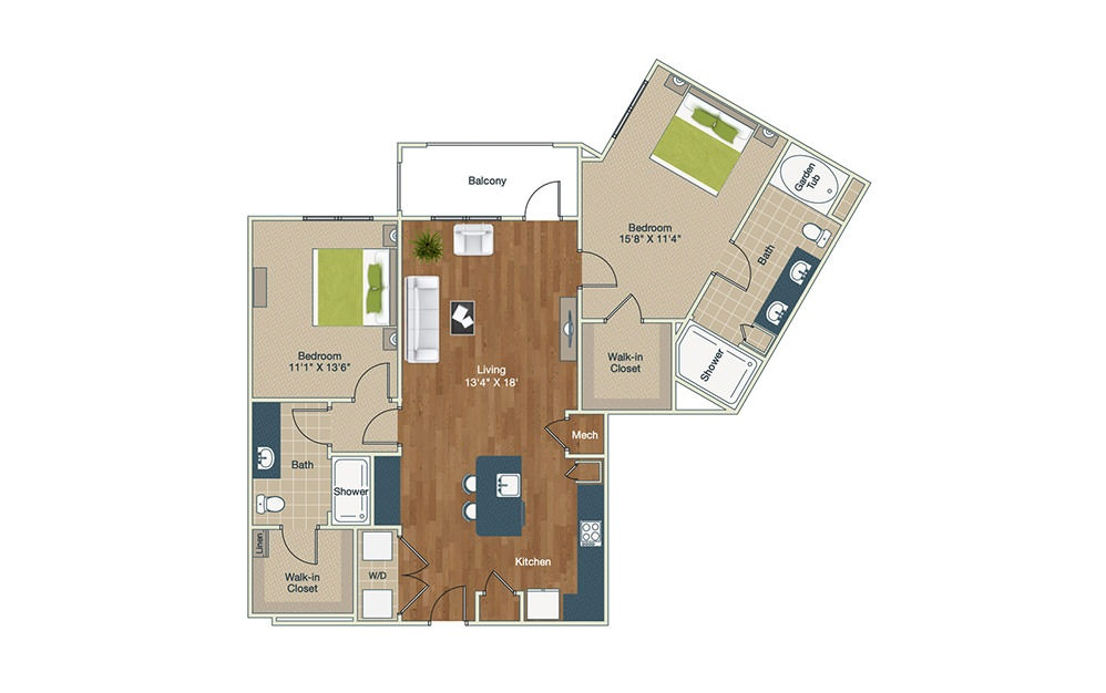 B5 | 2 Bed, 2 Bath, 1297 sq. ft. Apartment at Palladian Place