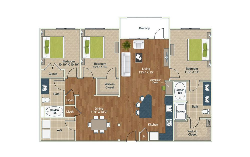 C1-CH | 3 Bed, 2 Bath, 1499 sq. ft. Apartment at Palladian Place