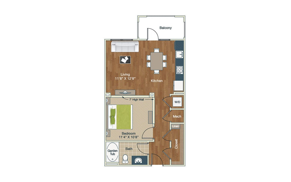 S1-B - Studio floorplan layout with 1 bath and 669 square feet.