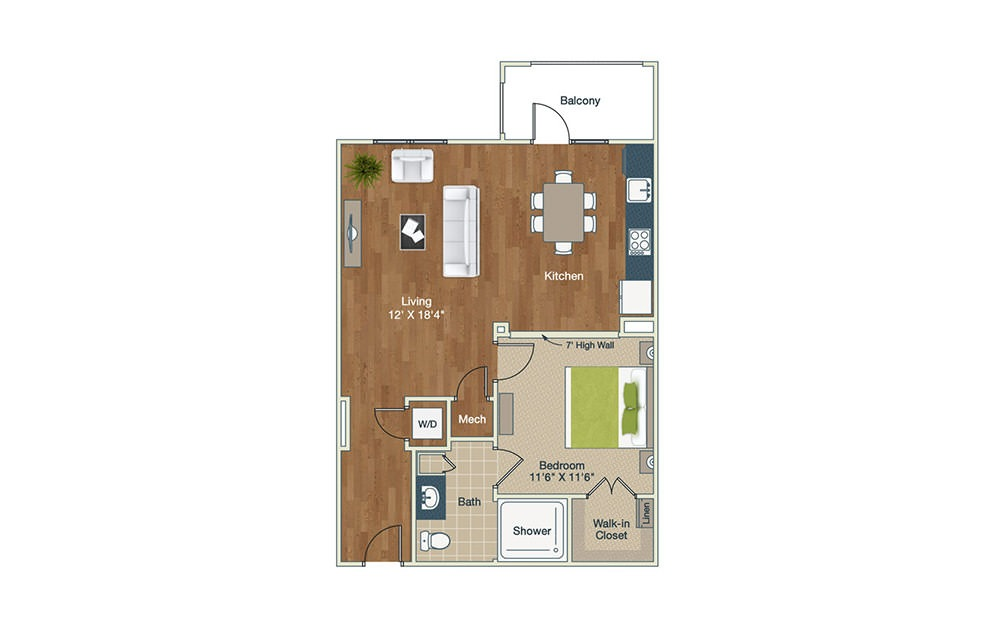 S2 - Studio floorplan layout with 1 bath and 791 square feet.
